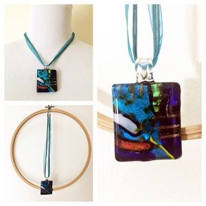 Jewelry - Art Glass Pendant Necklace On Blue Ribbon
